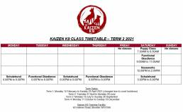 TIMETABLE OF CLASSES